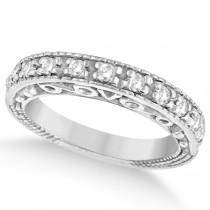 Designer Infinity Carved Diamond Ring w/ Scrollwork in Palladium  (0.21ct)