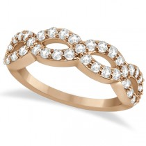 Pave Set Twisted Infinity Diamond Ring Band 14k Rose Gold (0.75ct)