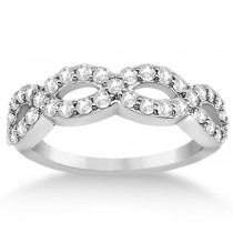 Pave Set Twisted Infinity Diamond Ring Band 14k White Gold (0.75ct)