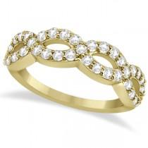 Pave Set Twisted Infinity Diamond Ring Band 14k Yellow Gold (0.75ct)