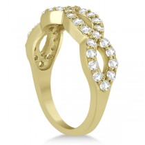 Pave Set Twisted Infinity Diamond Ring Band 14k Yellow Gold (0.75ct)