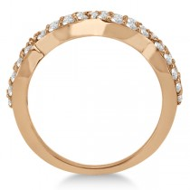 Pave Set Twisted Infinity Diamond Ring Band 18k Rose Gold (0.75ct)