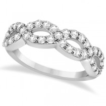 Pave Set Twisted Infinity Diamond Ring Band 18k White Gold (0.75ct)