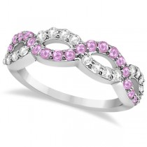 Pink Sapphire Twisted Infinity Diamond Ring in 14k White Gold (1.09ct)