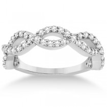 Twisted Infinity Semi-Eternity Diamond Band 14k White Gold (0.60ct)