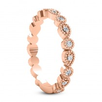 Diamond Wedding Band w/ Milgrain Edging 18k Rose Gold (0.21ct)
