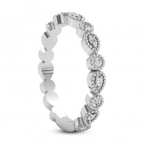 Diamond Wedding Band w/ Milgrain Edging 18k White Gold (0.21ct)