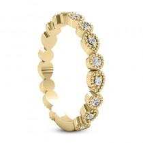 Diamond Wedding Band w/ Milgrain Edging 18k Yellow Gold (0.21ct)