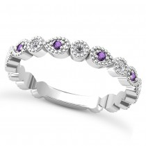 Alternating Diamond & Amethyst Wedding Band 14k White Gold (0.21ct)