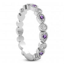 Alternating Diamond & Amethyst Wedding Band 14k White Gold (0.21ct)