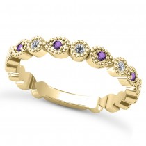 Alternating Diamond & Amethyst Wedding Band 14k Yellow Gold (0.21ct)