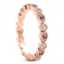 Alternating Diamond & Amethyst Wedding Band 18k Rose Gold (0.21ct)