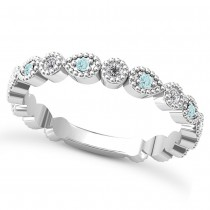 Alternating Diamond & Aquamarine Wedding Band 14k White Gold (0.21ct)