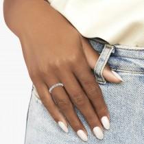 Alternating Diamond & Aquamarine Wedding Band 14k White Gold (0.21ct)