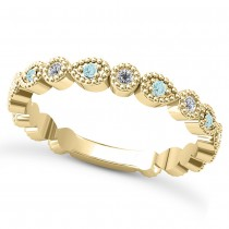 Alternating Diamond & Aquamarine Wedding Band 14k Yellow Gold (0.21ct)