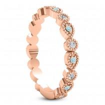 Alternating Diamond & Aquamarine Wedding Band 18k Rose Gold (0.21ct)