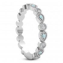 Alternating Diamond & Aquamarine Wedding Band 18k White Gold (0.21ct)|escape