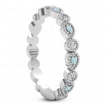 Alternating Diamond & Aquamarine Wedding Band 18k White Gold (0.21ct)