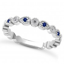 Alternating Diamond & Blue Sapphire Wedding Band 14k White Gold (0.21ct)