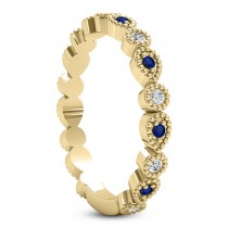 Alternating Diamond & Blue Sapphire Wedding Band 14k Yellow Gold (0.21ct)|escape