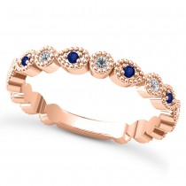 Alternating Diamond & Blue Sapphire Wedding Band 18k Rose Gold (0.21ct)