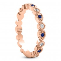 Alternating Diamond & Blue Sapphire Wedding Band 18k Rose Gold (0.21ct)