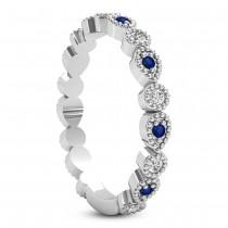 Alternating Diamond & Blue Sapphire Wedding Band 18k White Gold (0.21ct)