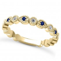 Alternating Diamond & Blue Sapphire Wedding Band 18k Yellow Gold (0.21ct)