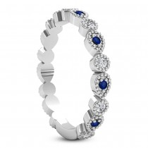 Alternating Diamond & Blue Sapphire Wedding Band Platinum (0.21ct)|escape