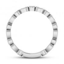Alternating Diamond & Blue Sapphire Wedding Band Platinum (0.21ct)