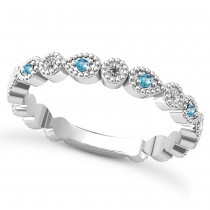 Alternating Diamond & Blue Topaz Wedding Band 14k White Gold (0.21ct)