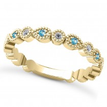 Alternating Diamond & Blue Topaz Wedding Band 14k Yellow Gold (0.21ct)