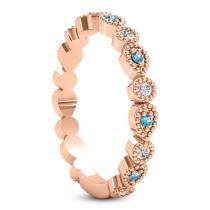 Alternating Diamond & Blue Topaz Wedding Band 18k Rose Gold (0.21ct)