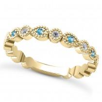 Alternating Diamond & Blue Topaz Wedding Band 18k Yellow Gold (0.21ct)