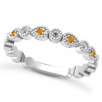 Alternating Diamond & Citrine Wedding Band 14k White Gold (0.21ct)