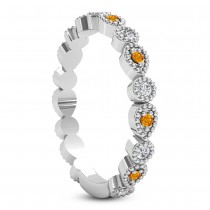 Alternating Diamond & Citrine Wedding Band 14k White Gold (0.21ct)