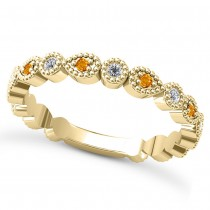 Alternating Diamond & Citrine Wedding Band 14k Yellow Gold (0.21ct)