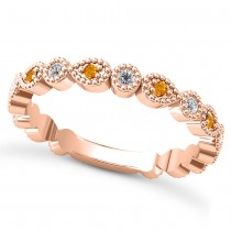 Alternating Diamond & Citrine Wedding Band 18k Rose Gold (0.21ct)