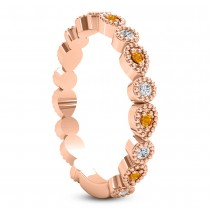 Alternating Diamond & Citrine Wedding Band 18k Rose Gold (0.21ct)