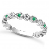 Alternating Diamond & Emerald Wedding Band 14k White Gold (0.21ct)