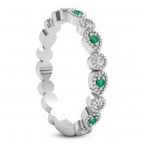 Alternating Diamond & Emerald Wedding Band 14k White Gold (0.21ct)