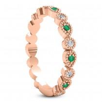 Alternating Diamond & Emerald Wedding Band 18k Rose Gold (0.21ct)