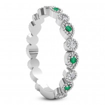 Alternating Diamond & Emerald Wedding Band Platinum (0.21ct)