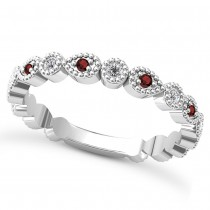 Alternating Diamond & Garnet Wedding Band 14k White Gold (0.21ct)