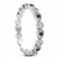 Alternating Diamond & Garnet Wedding Band 14k White Gold (0.21ct)