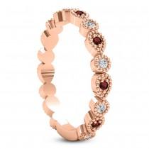 Alternating Diamond & Garnet Wedding Band 18k Rose Gold (0.21ct)