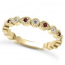Alternating Diamond & Garnet Wedding Band 18k Yellow Gold (0.21ct)