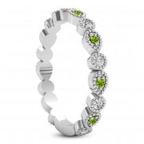 Alternating Diamond & Peridot Wedding Band 14k White Gold (0.21ct)