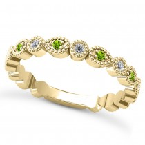 Alternating Diamond & Peridot Wedding Band 14k Yellow Gold (0.21ct)