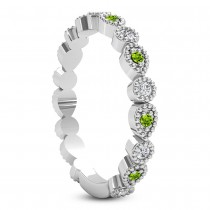 Alternating Diamond & Peridot Wedding Band Platinum (0.21ct)